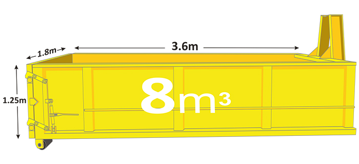 8m walk in bin in yellow with measurements